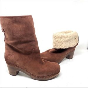 Ugg brown suede Sherpa Lynnea Ankle Boots 11 BS2